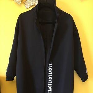 Jackets & Blazers - Brand name long black blazer 'Love'